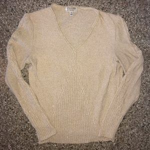 St John sweater gold nude small cable knit